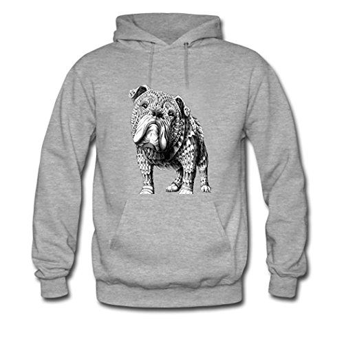 HGLee Printed Personalized Custom English Bulldog Women's Sweatshirts Hooded Hoodies Gray--3
