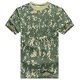 ZhiYuanAN Hombre Camisetas Militares Algodón De Camuflaje Al Aire Libre T Shirt De Manga Corta ACU CP Selva Camo Tee Tops Multicolor Camouflage Camisa