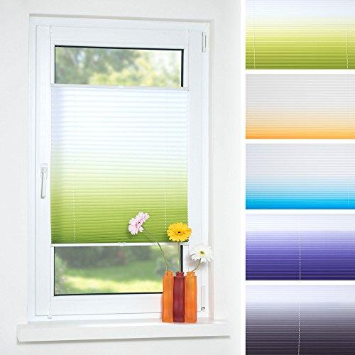 Decolia Klemmfix-Plissee Farbverlauf verspannt ohne Bohren oder Schrauben, Breite/Höhe: 50x130 cm, Farbe: anthrazit