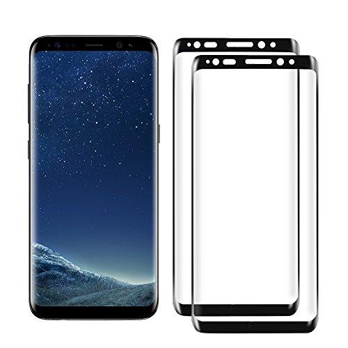 Woocika para Samsung Galaxy S8 Cristal Templado [2-Unidades] Protector Pantalla para Samsung Galaxy S8- Alta Definicion sin Burbujas Anti-rasguños [3D Curvado Full Coverage]-Negro