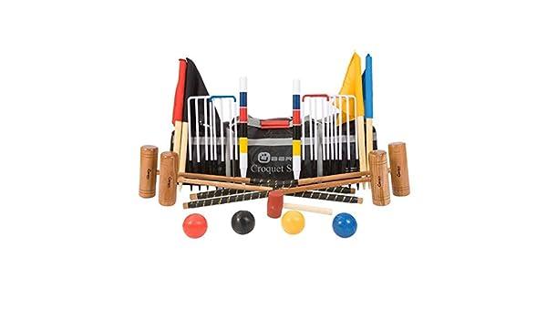 11mm Stahltore 4 personen Original-Englisch Krocket-Spiel Hartholz mit Tasche