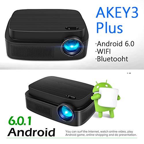 KAIDILA Projektor, Android 6.0 Projektor AKEY3 Plus, 1280 * 800 Smart Beamer eingebautes Wifi, Bluetooth, HDMI, HiFi-Lautsprecher. Optionale AKEY3, LED-TV -