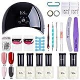 Y&S Kit de Manucure Vernis Semi Permanent - 24W UV/LED Lampe Vernis séchoirs à ongles, 4 Couleurs Vernis Gels, Base Top Coat, Remover et Nail Art Outils Accessoires, Lot Débutant Populaire #2