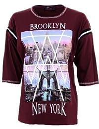 Fantasia - T Shirt Femme Manches 3/4 Motif Imprimé Brooklyn New York - M/L 40/42, Bordeaux