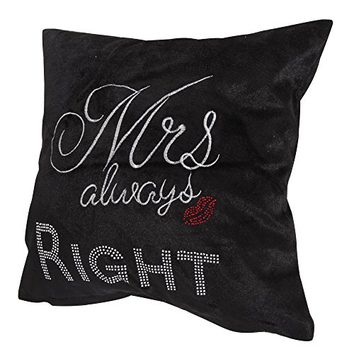 "Panache Sparkle Mrs Always Right Bling Shiny Black Cushion Cover 17"" X 17"" (43cm X 43cm) Plain Black / Printed Diamante Studded Red Lips / Chenille Velvet Look Cover"
