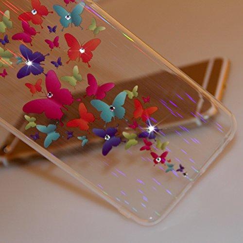 iPhone 6 4.7 Custodia, iPhone 6S Cover, iPhone 6 Case, Felfy Ultra Sottile Gel Custodia in Silicone e TPU Morbido Trasparente Chiaro Protettiva Skin Caso Case Cover per Apple iPhone 6 e 6S Belle Bian Colorato Farfalla