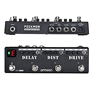 ammoon Multi-Effects Pedal Strip with Tuner Delay Distortion Overdrive FX Loop Tap Tempo Guitar Effect Pedal