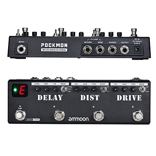 ammoon Multi-Effects Pedal Strip with Tuner Delay Distortion Overdrive FX Loop Tap Tempo POCKMON Guitar Effect Pedal