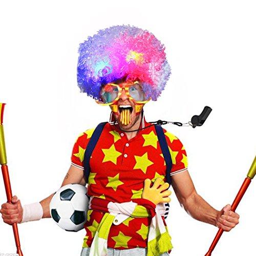 Clown Perücke, Funpa LED Clown Perücke Afro Curly Perücke LED Perücke mit Blinkenden Farbigen Lichtern Halloween Cosplay Kostüm Haar Zubehör für Kinder Erwachsene (Lustige Halloween Kostüme Für Arbeit)
