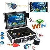 Cámara de pesca submarina, buscador de peces WIFI Video monitor LCD de 9 pulgadas HD 1000 TVL cámara impermeable 12LED visión nocturna infrarroja luz hielo lago mar kayak buscador de peces 50 metros