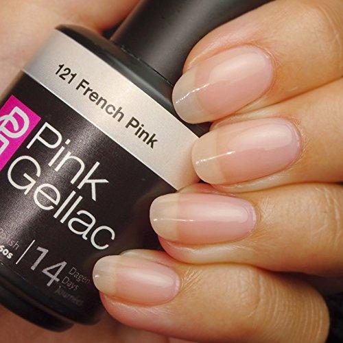 Vernis à ongles Pink Gellac 121 French Pink. 15 ml gel Manucure et Nail Art pour UV LED lampe, top coat résistant shellac