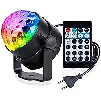 Anpro Luces Discoteca Luces de fiesta, 15 modos de luz, 4W RGB Luces con Control remoto para Fiesta,Cumpleaños,Boda,Bar