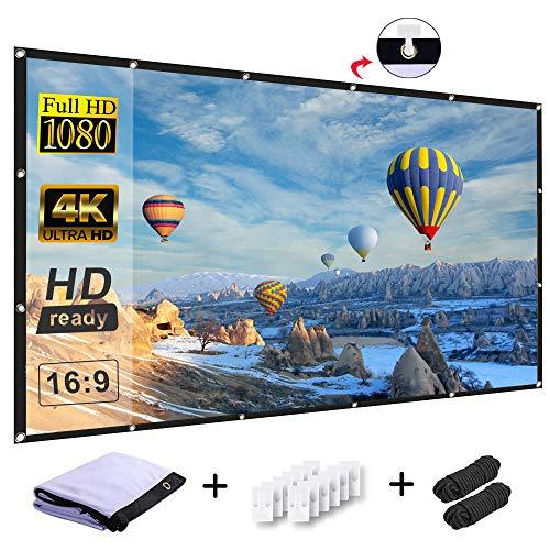 Releetech proiettore schermo 254cm 16: 9HD Schermo da interni ed esterni proiettore portatile Movies pieghevole per home Theater supporto doppio proiezione