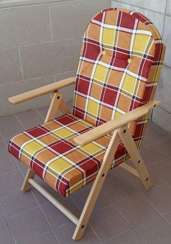 Fauteuil chaise chaise longue Amalfi en bois inclinable 4 positions coussin rembourré H 105 cm séjour cuisine salon canapé (Bordeaux)