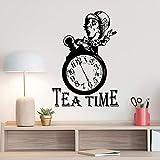 xingbuxin Tea Time Clock Wandaufkleber Alice Im Wunderland Mad Hatter Zitat Poster Zeichen Küche...