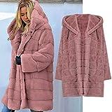 DNOQN Sweatmantel Wollstrickjacken Grobstrickjacke Kapuzenshirt Damen Winter Warm Plüsch Nachahmung Pelz Mantel Solide Lange Jacke Mit Kapuze Mantel