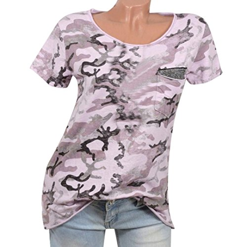 Hevoiok Damen Sommer T-Shirt Kurzarm Camouflage Muster Pailletten Shirt Fashion Locker Top T-Shirt Oberteile Bluse (Rosa, M)
