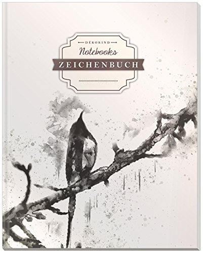 DÉKOKIND Zeichenbuch: DIN A4, 122 Seiten, Register, Vintage Softcover | Dickes Blanko-Notizbuch zum Selbstgestalten | Motiv: Vogelmotiv