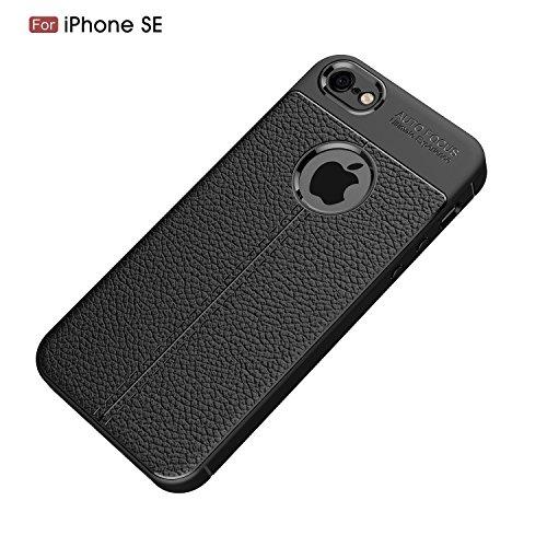DBIT iPhone 5 5S SE Custodia ,Coperchio di Protezione Compatto Litchi pelle con Cassa Antiurto in Silicone Ultra Morbido e Leggero TPU Case Cover + 1 Pellicola Protettiva per iPhone 5 5S SE Smartphone Nero
