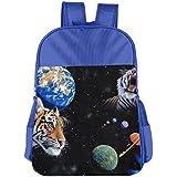Tigers And Space Planets Kids School Shoulder Backpack Bag Children Bookbag