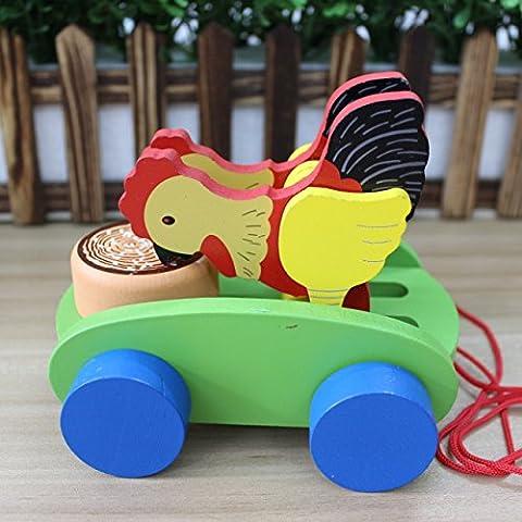 HappyToy Colorido juguete Gallo tirar de carros de madera preescolar niño andador coche de juguete
