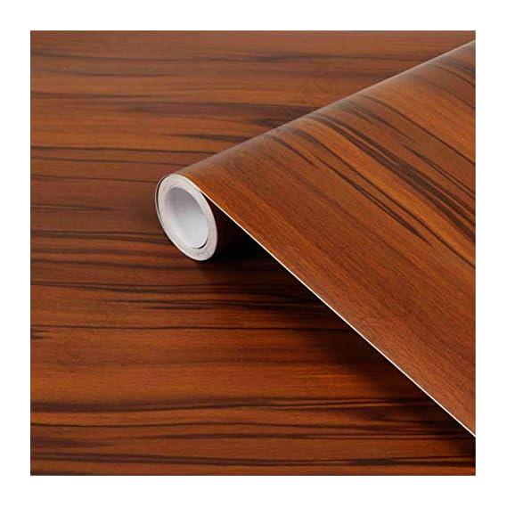 CVANU? Self Adhesive Wood Grain Wallpaper Waterproof Old Furniture Vinyl Stickers Wooden Door Wardrobe Desktop PVC Wall Papers Cv252 12''x48''inch