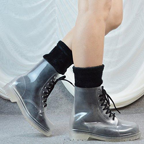 LvRao Damen Hohe Stiefeletten Stiefel Winter Warm Schnee Regen Gummistiefel Schnürung Boots Transparent mit Socken