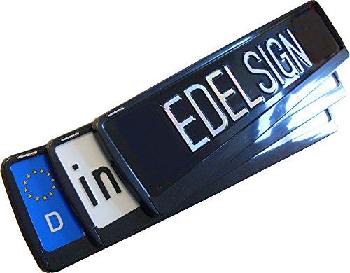 EDELSIGN Kennzeichenhalter Mod. FUTUR (1 Stück) - VECTOR DESIGN TOP Qualität, ideal für gebogene Stoßstangen, inkl. 4 x Chrom Ventilkappen und Edelstahl Befestigungsmaterial. Passend für alle EU-Norm Kennzeichen 52 x 11 cm - Anhänger-reifen-halter