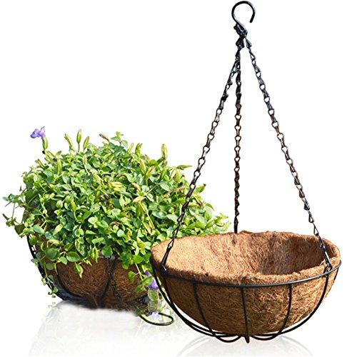 zslgogo cestino da appendere all'aperto in palma da cocco, portavaso decorativo da appendere, cesto per balcone per fiori/piante/spezie/erbe/verdure (10 inch (25 cm))