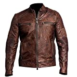 Red Smoke Herren Jacke Gr. XXX-Large, e. Cafe Racer Distressed Brown Vinyl Leather Jacket