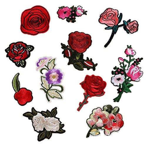 SevenMye 11-teiliges Set an aufbügelbaren Aufnähern, Blumen, Rosen, bestickt, zum Aufbügeln mit Bügeleisen, Heimwerken, Kleidung, Dekoration für Kleidung, Hüte, Taschen style 2
