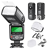 Neewer Kit di 750II Flash Speedlite TTL con LCD Display per Nikon DSLR Include: (1)Flash TTL 750II, (1)Trigger Wireless 2.4G con Cavo N1/N3, (1)Diffusore Morbido/Rigido, (1)Copriobiettivo