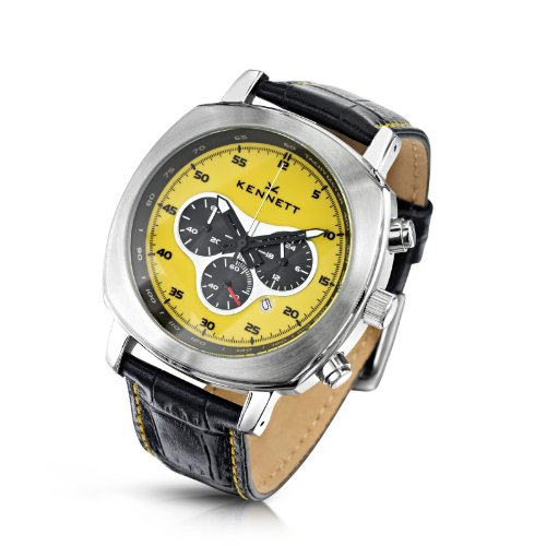 KENNETT Men's Quartz Watch with Yellow Dial Chronograph Display and Black Leather Strap 2001.4103