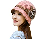 Bonnet femme, Koly Bonnet tricoté au crochet Adulte femme Beret Chapeau en Laine avec décoration florale et perle d'hiver chaud (Rose)