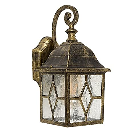 Rustic IP44 Rated Black and Gold Brushed Metal Outdoor Wall Light Coach Lantern with Traditional Panel Shades