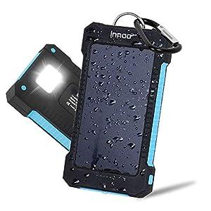 Innoo Tech Cargador Solar 10000mAh, Power Bank portátil con Batería Externa y Protección IP65(a Prueba de Golpes,Agua,Polvo), Indicadores y Linterna LED para teléfono Android, Apple, Altavoces (10000mAh)