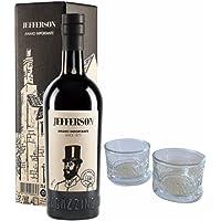 Jefferson | Amaro importante | Cl 70 | ASTUCCIATO + 2 Bicchieri originali VECCHIO MAGAZZINO DOGANALE