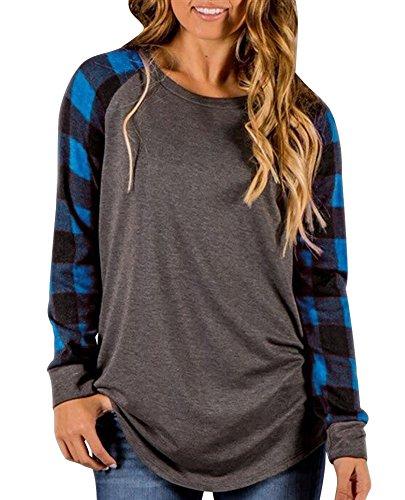 Donna Elegante Collo Rotondo Manica Lunga Camicia Camicetta Maglietta Casuale Striscia Griglia Giuntura T-shirt Pullover Sciolto Tops A Blu