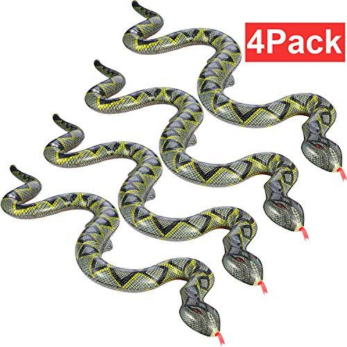 Hsei 4 Stücke Gefälschte Schlange Spielzeug Aufblasbare Schlange Schwimm Schlange für Garten Pool Bauernhof Party Dekoration