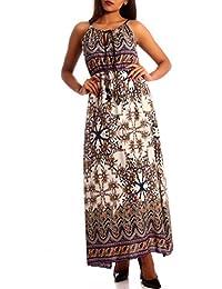 Damen Kleid Maxikleid Kleid mit Träger Allover Print