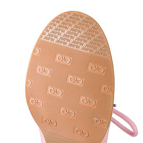 VogueZone009 Femme Pu Cuir Couleur Unie Lacet Rond à Talon Correct Chaussures Légeres Rose