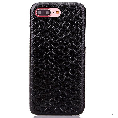 iPhone Case Cover Solid Color Case, Skalierung Muster Hard Cover Zurück mit Card Slot für IPhone 7 Plus ( Color : Rose , Size : IPhone 7 Plus ) Black