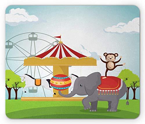 Karneval Mauspad, AFFE und Elefant EIN Zirkus Themenpark Festliche Kostüme Details Feier, Standardgröße Rechteck rutschfeste Gummi Mousepad, Mehrfarben,Gummimatte 11,8