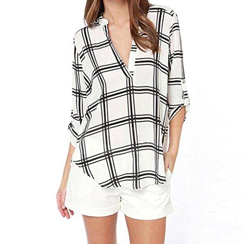 Frauen Tops,Amlaiworld Lässige Damen-Bluse Chiffon Long Sleeve Top T-Shirt lose kurze Tops Weiß