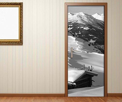 Türaufkleber Landschaft Berg Alpen Schnee Ski schwarz weiß Tür Bild Türposter Türfolie Türtapete Poster Aufkleber 15A1439, Türgrösse:90cmx200cm (Schnee Berg Bilder)