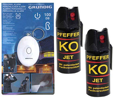 Ballistol Verteidigungsspray Pfefferspray KO Jet 2 Dosen mit je 40 ml + gratis Schrill-Alarm mit LED