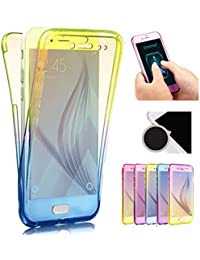 Sycode Galaxy S6 Edge Plus Full Body 2 in 1 Hülle,Gradient Farbe Beidseitiger Vorne und Hinten Full Protective Schale Etui Case Cover für Samsung Galaxy S6 Edge Plus-Blau Gelb