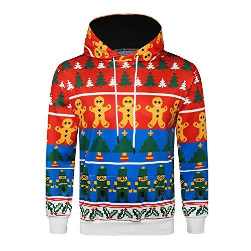 UJUNAOR Weihnachten Männer Hoodie 3D Gedruckt Langarm Pullover Top Bluse Herbst Winter Mit Kapuze(Rot,EU XL/CN 2XL)
