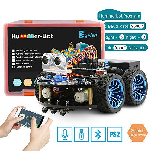 Keywish Smart Roboter Car Kit für Arduino,Roboter Bausatz Mit Tutorial, Remote Control 4WD Car, UNO R3, Line Tracking, Ultraschallsensor, Bluetooth Module,DIY Spielzeug Gift Support Scratch Library