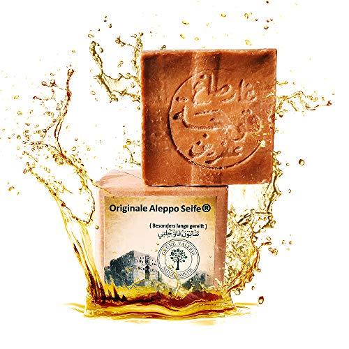Originale Aleppo Seife 200g mit 50% Olivenöl & 50% Lorbeeröl - Haarwaschseife mit PH Wert 8 - Detox Eigenschaften - veganes Naturprodukt - Handarbeit - über 6 Jahre gereift! Testsieger!